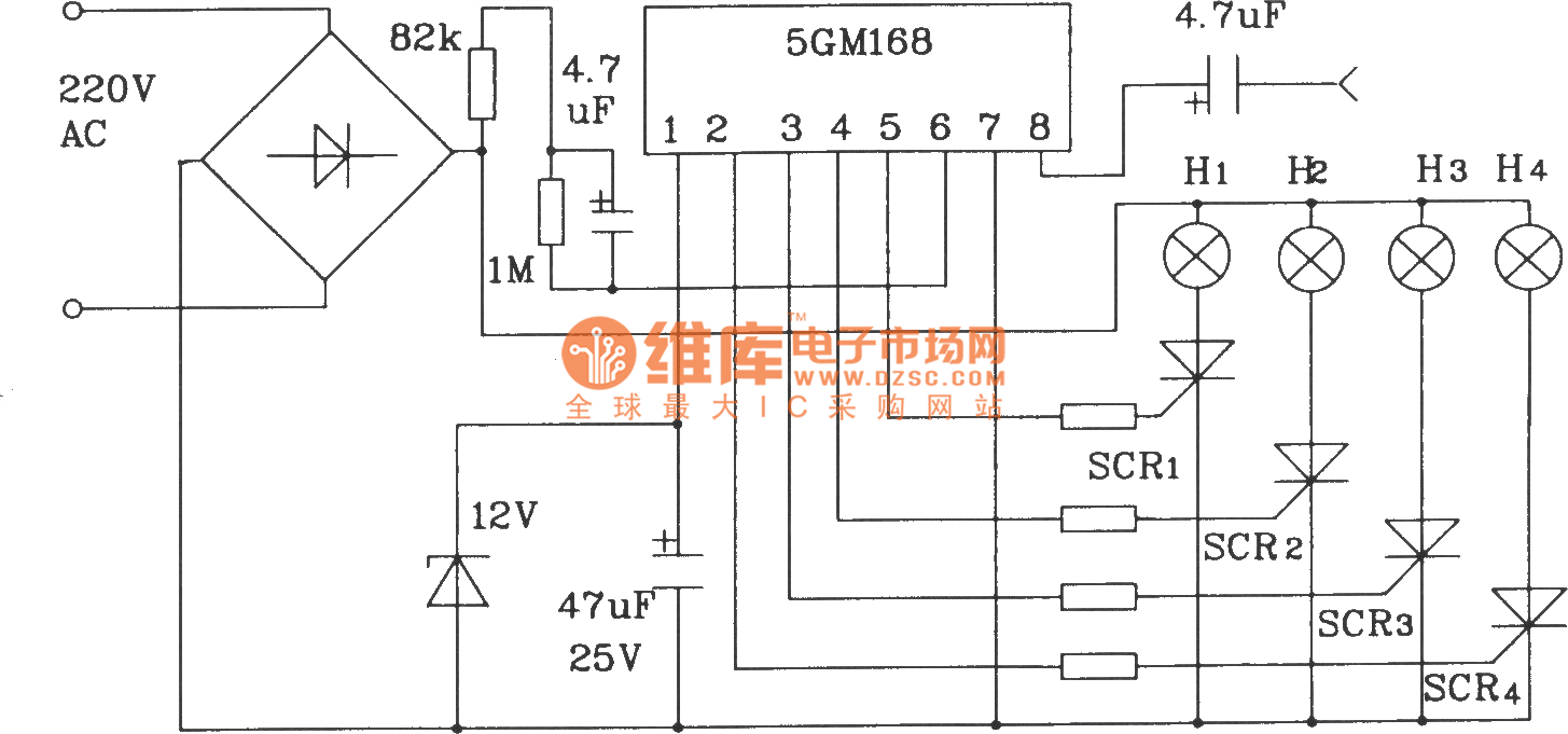 Typical application circuit of 5G168 holiday lights