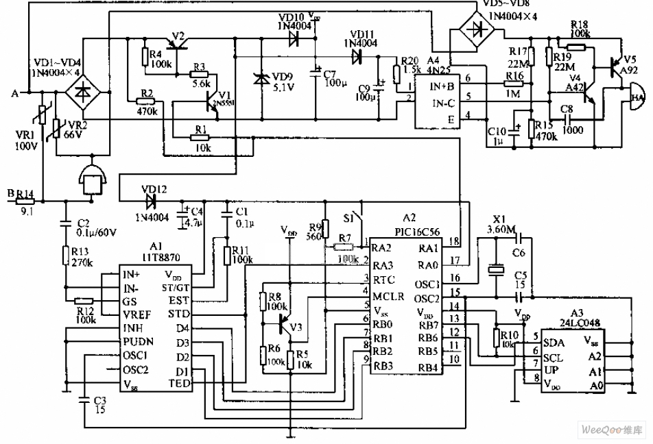 Microcomputer Telephone Cost-Saving Device Circuit Diagram