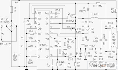 Diagram of Electronic Ballast Circuit composed of UBA2014