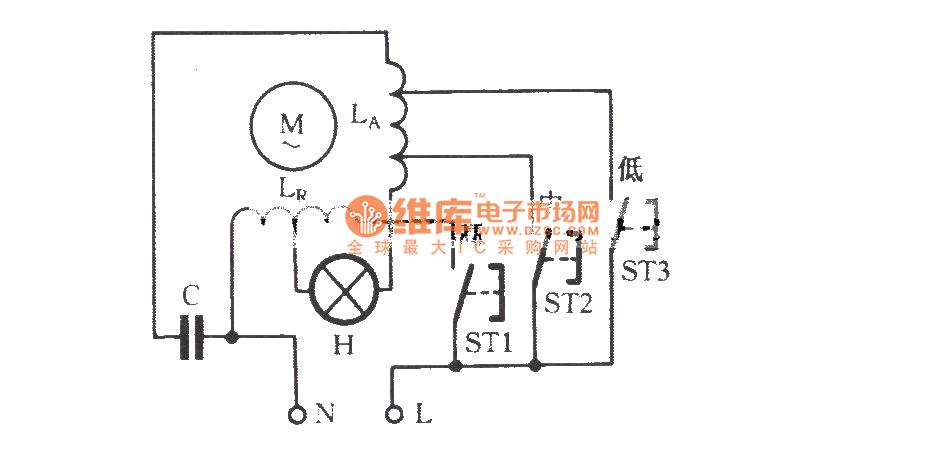 Single-phase motor winding tap speed regulating circuit