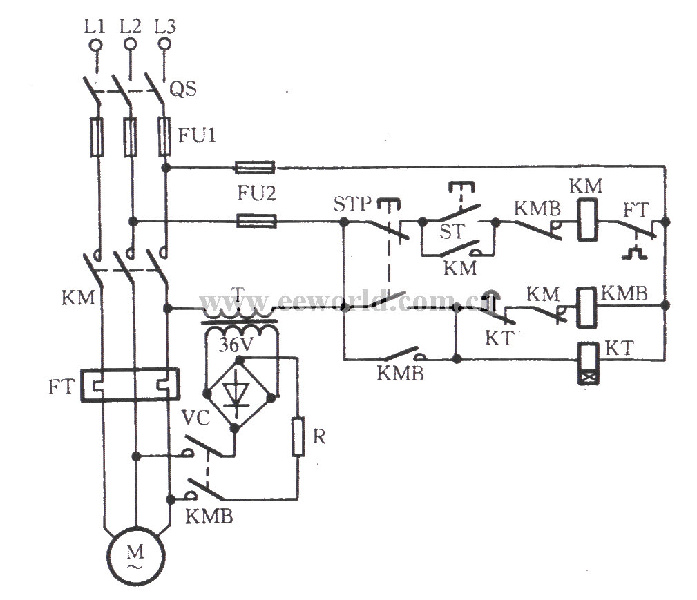 Four diodes rectifier energy consumption braking circuit