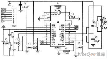 Applied circuit diagram of nrf401 wireles receiving and