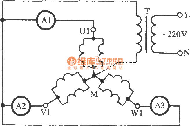 Starlike multidrop parallel connection three-phase