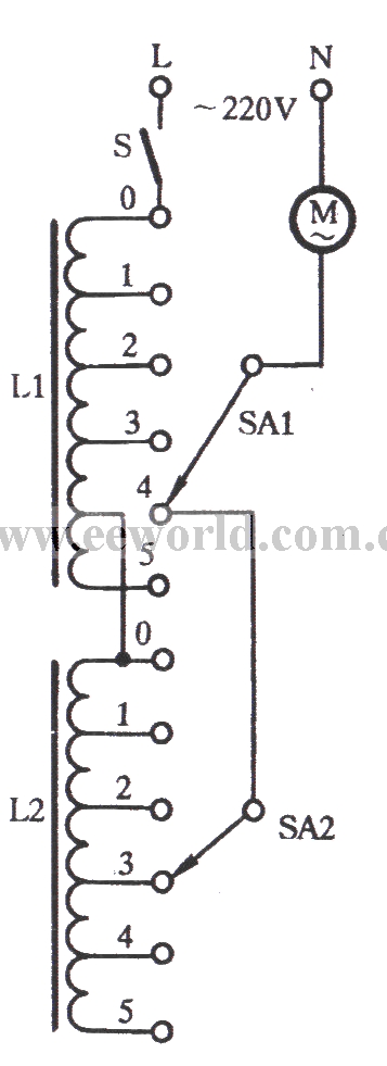 The series inductance trimming tap speed adjusting circuit
