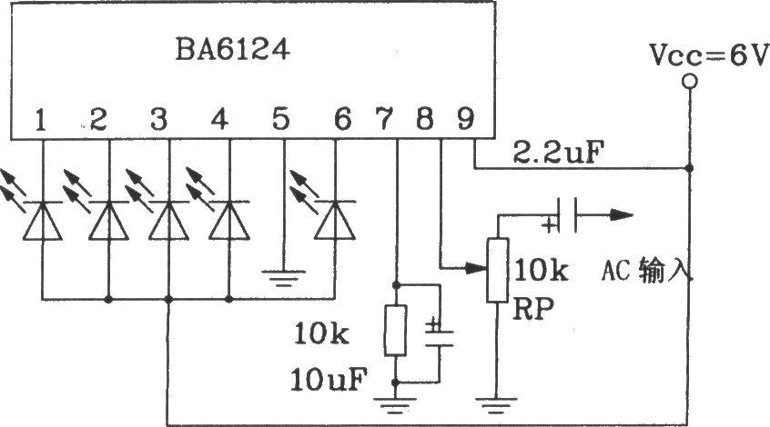 The basic application circuit of BL6124 5-bit LED level