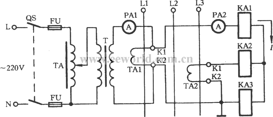 Line lamp transformer checking current transformer circuit