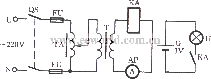Light transformer checking current relay circuit
