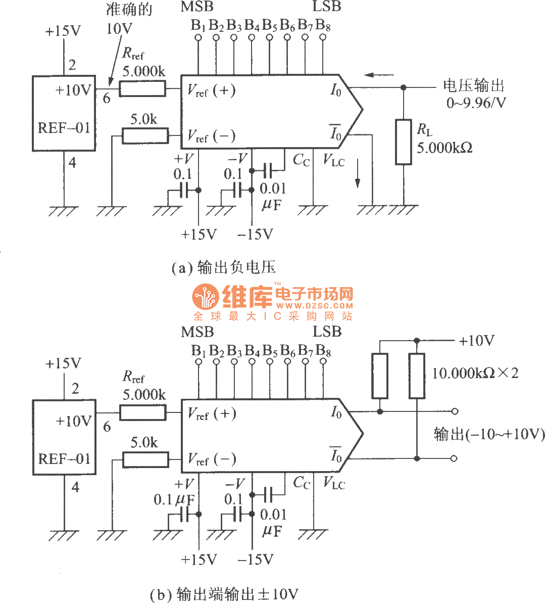 hight resolution of the voltage dac0800 conversion circuit from current output d a