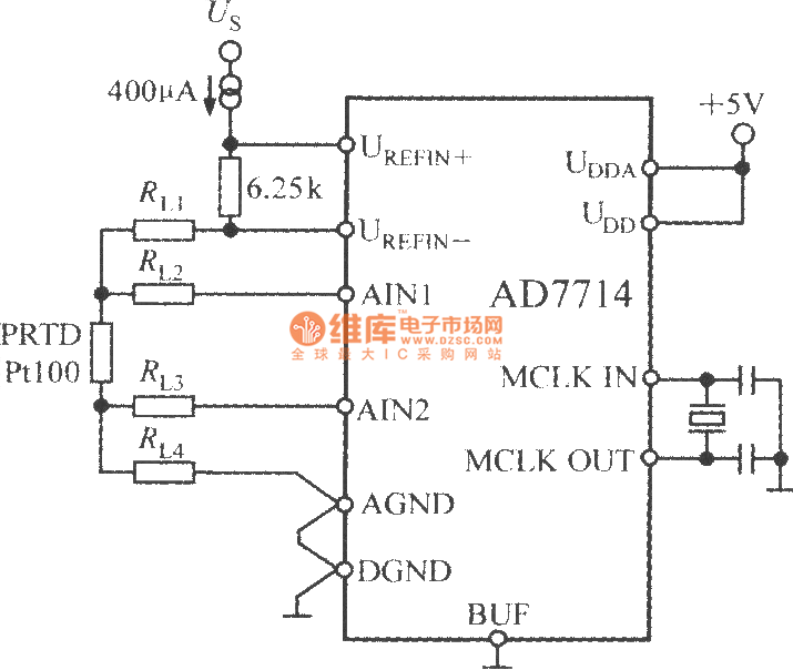 Temperature measuring circuit with 5 channel low power