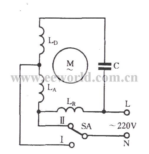 Single-phase motor winding tap L-2 connection two-speed