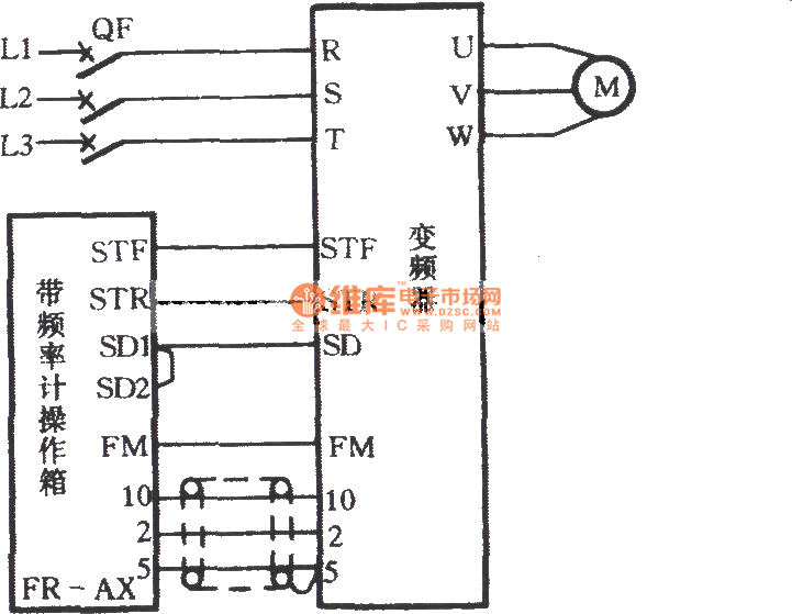 Inverter speed control circuit with a frequency meter