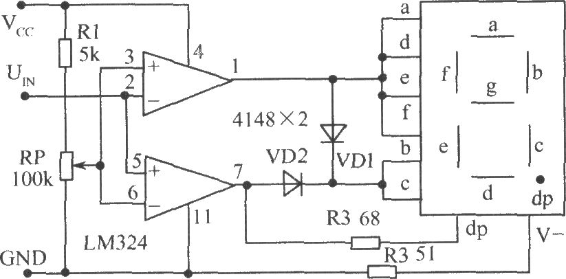 Level test circuit using voltage comparator LM324
