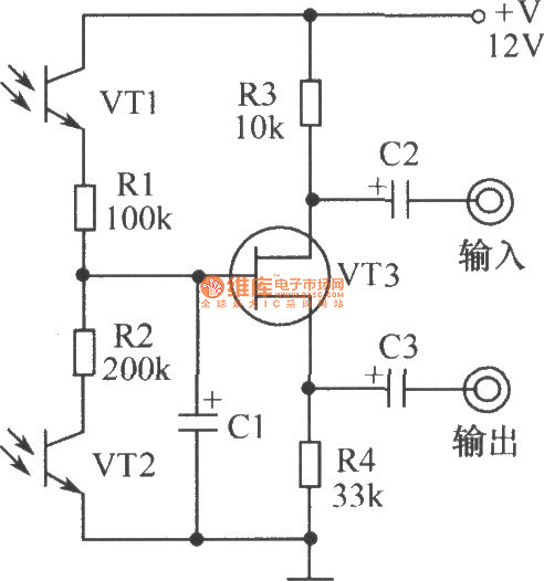 Light-operated potentiometer circuit composed of