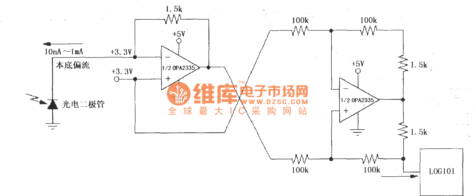 hight resolution of precision current inverter current source circuit 2 composed of log101 104 and op amp opa2335