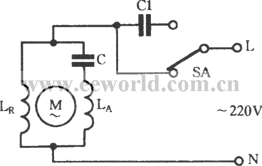Two-speed regulating circuit with single-phase motor