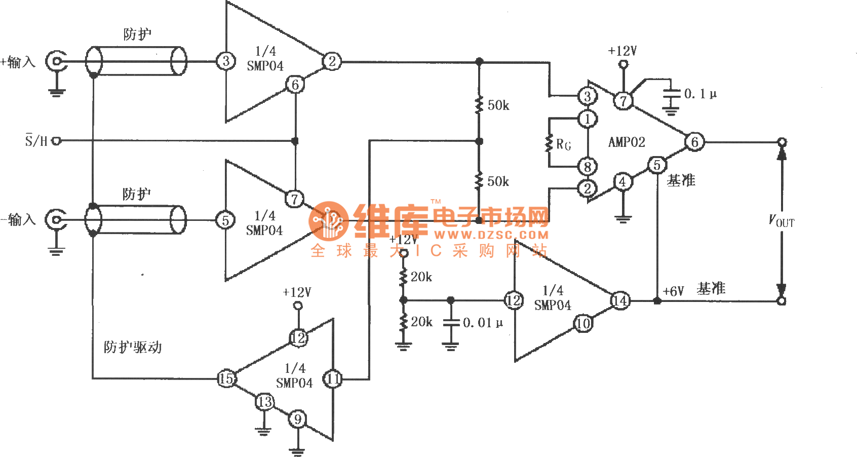 hight resolution of  12v single supply sampling instrument amplifier circuit with protective driver composed of smp04 and instrument amplifier