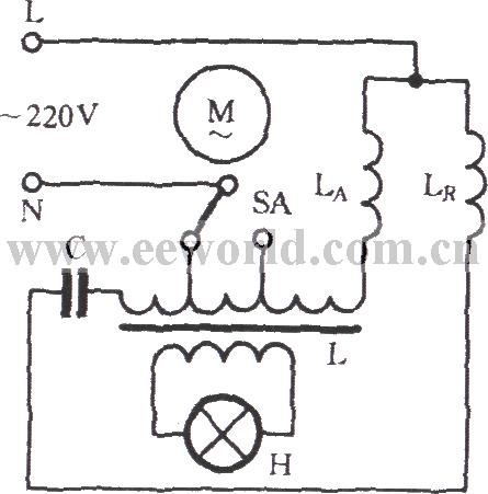 Single-phase motor reactor tap speed adjusting circuit