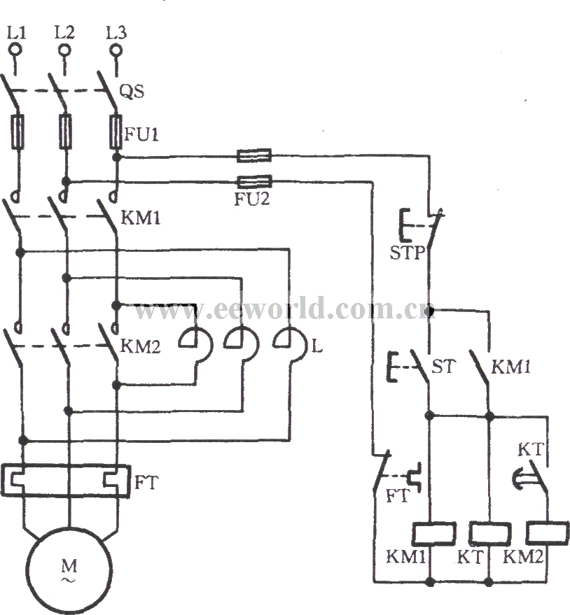 Automatic series reactance starting three-phase motor 1