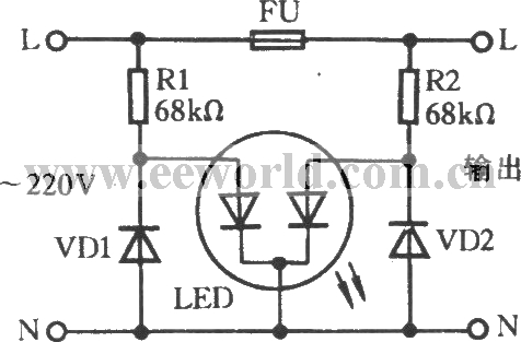 Fuse indicator circuit with discoloring light-emitting