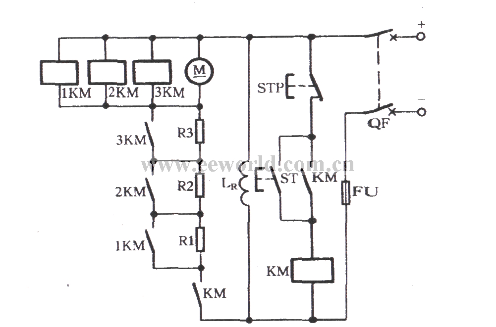 DC motor start circuit controlled by counter electromotive