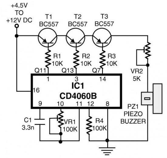 simple telephone ring tone generator circuit schematic with