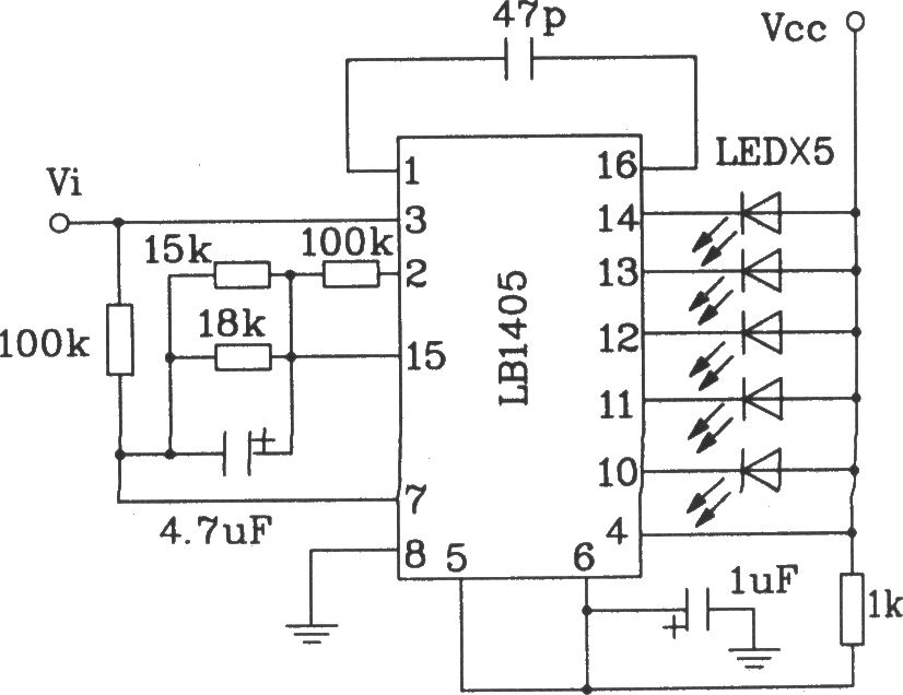 The typical application circuit of LB140 5-bit LED level