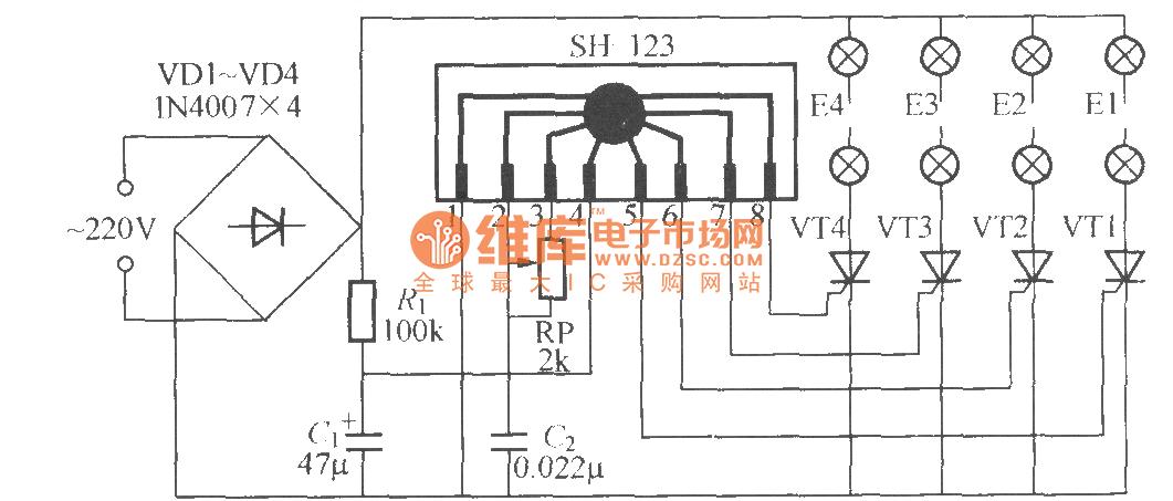 Four-way flashing light string circuit ( 6 ) ( SH-123