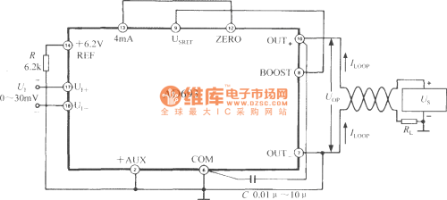small resolution of 0 30 mv unipolar input 4 20ma output circuit with multi functional sensor signal conditioner ad693