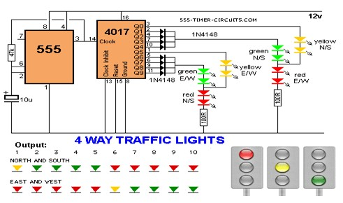 4 WAY TRAFFIC LIGHTS Circuit LED And Light Circuit Circuit