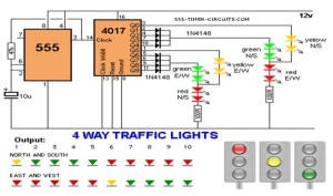 4 WAY TRAFFIC LIGHTS Circuit  LED_and_Light_Circuit