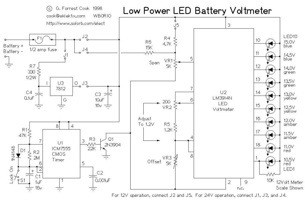 medium resolution of low power led voltmeter led and light circuit circuit diagram alternator to voltmeter wiring diagram led wiring diagram of voltmeter