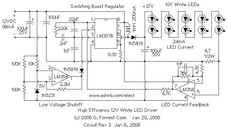 12v drive 7 high efficiency white led flashlight