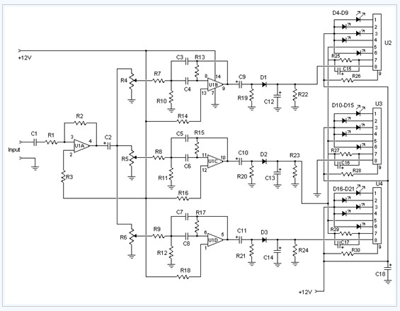 3 Channel Spectrum Analyzer electronic circuit diagram