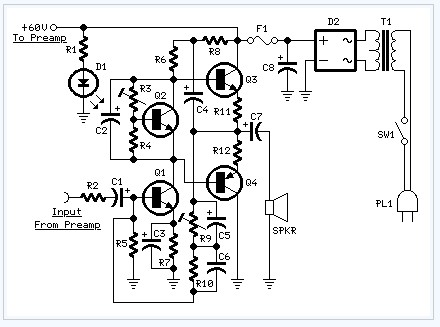 60w Guitar Amplifier electronic circuit diagram