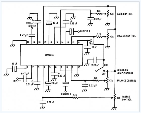 Bass-treble Tone Control Circuit electronic circuit