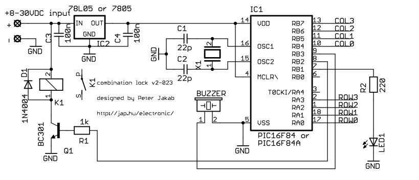 Electronic combination lock with PIC Microcontroller