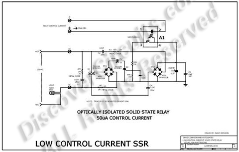 SOLID STATE RELAY REQUIRES ONLY 50uA DRIVE CURRENT CIRCUIT