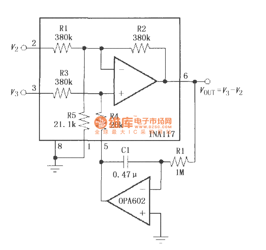 Constituted by the OPA602 feedback AC coupling circuit
