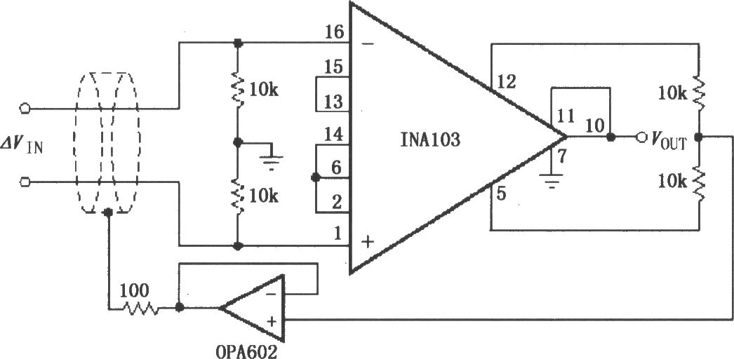 The output stage gain adjustment circuit (INA103