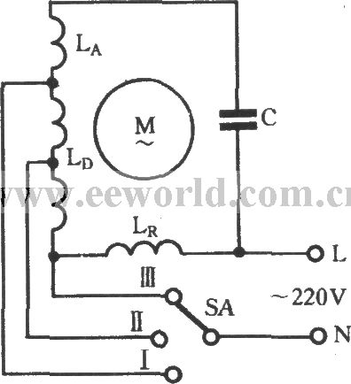 The winding tap L-2 connection three-speed circuit of