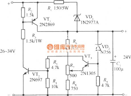 24V Short circuit proof regulated power supply circuit