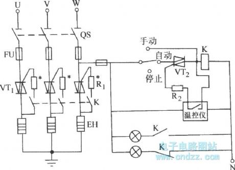 Bi-directional thyristor control three-phase electric
