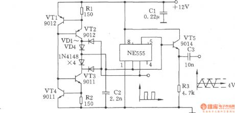 Triangle wave and square wave generator composed of NE555