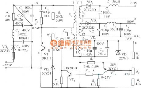 Output sampling winding isolated switching power supply