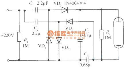 Voltage multiplying rectifier electron ballast circuit