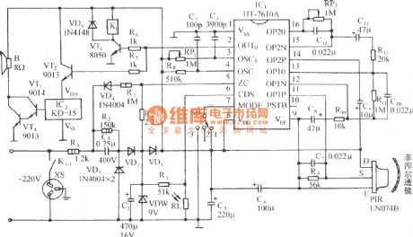 Infrared sensor music outlet control circuit with HT-7610A