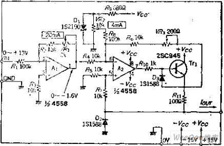 put 0~10V into 4 ~ 20MA voltage-current conversion circuit