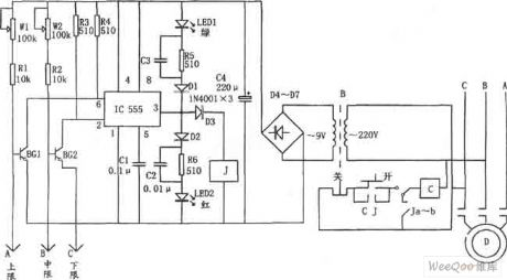 water level automatic control circuit consisting of 555