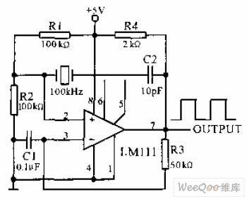 Quartz crystal rectangular wave oscillator circuit