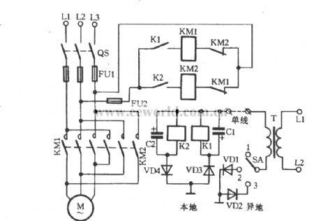 Three-phase motor for single-line remote commutation